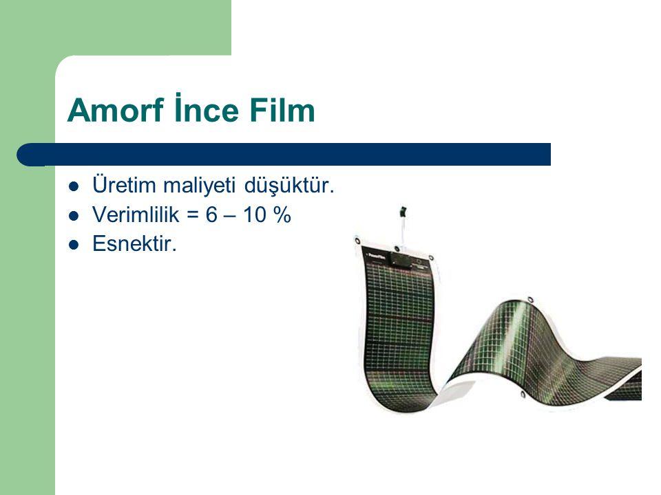 Amorf İnce Film Üretim maliyeti düşüktür. Verimlilik = 6 – 10 %