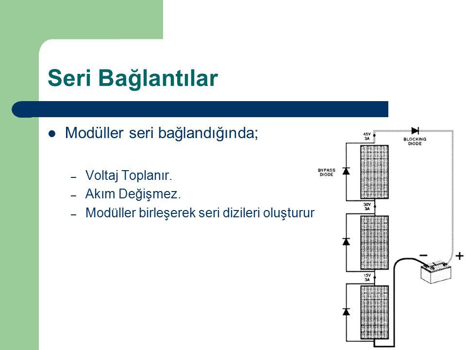 Seri Bağlantılar Modüller seri bağlandığında; Voltaj Toplanır.