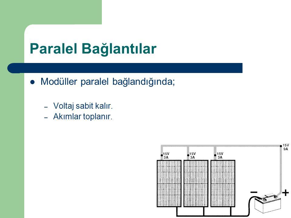 Paralel Bağlantılar Modüller paralel bağlandığında;
