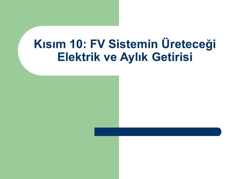 Kısım 10: FV Sistemin Üreteceği Elektrik ve Aylık Getirisi