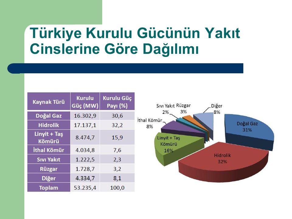 Türkiye Kurulu Gücünün Yakıt Cinslerine Göre Dağılımı