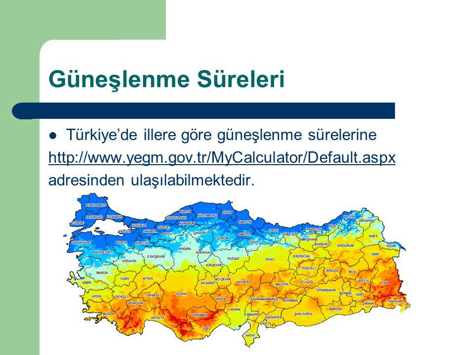 Güneşlenme Süreleri Türkiye'de illere göre güneşlenme sürelerine
