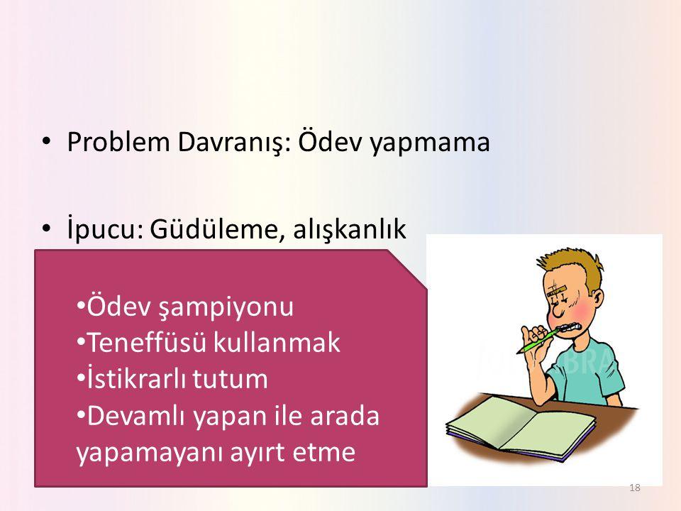 Problem Davranış: Ödev yapmama