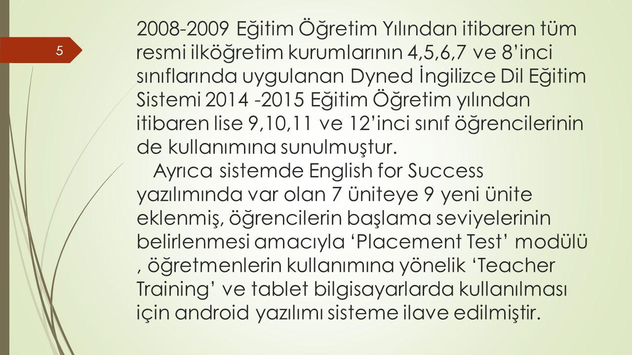 2008-2009 Eğitim Öğretim Yılından itibaren tüm resmi ilköğretim kurumlarının 4,5,6,7 ve 8'inci sınıflarında uygulanan Dyned İngilizce Dil Eğitim Sistemi 2014 -2015 Eğitim Öğretim yılından itibaren lise 9,10,11 ve 12'inci sınıf öğrencilerinin de kullanımına sunulmuştur.