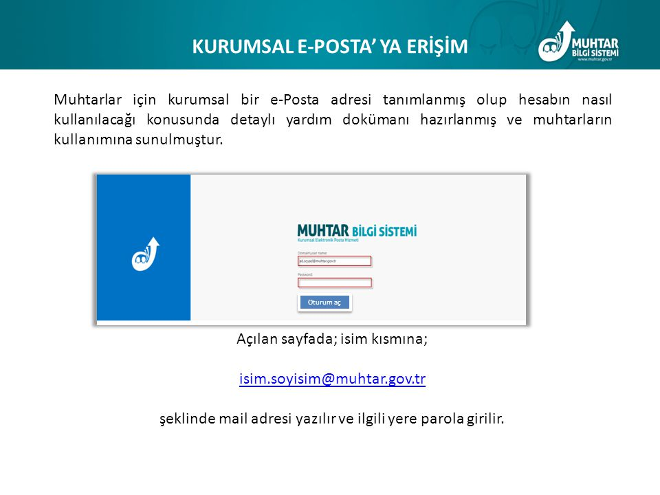 KURUMSAL E-POSTA' YA ERİŞİM