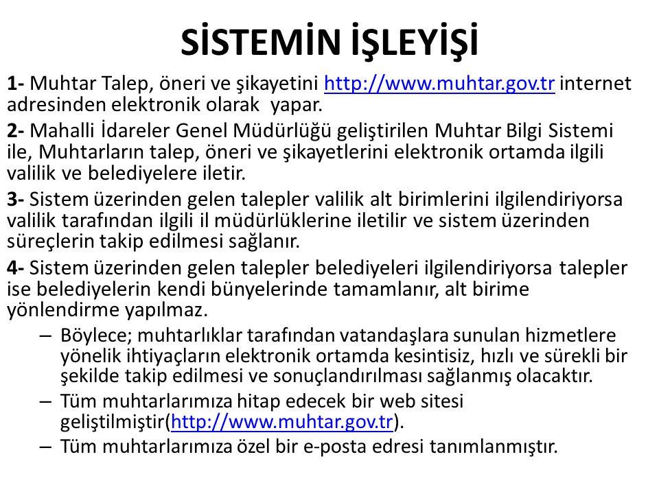 SİSTEMİN İŞLEYİŞİ 1- Muhtar Talep, öneri ve şikayetini http://www.muhtar.gov.tr internet adresinden elektronik olarak yapar.