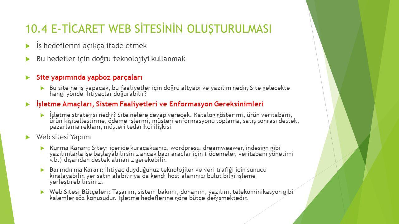 10.4 E-TİCARET WEB SİTESİNİN OLUŞTURULMASI
