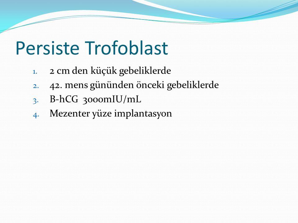 Persiste Trofoblast 2 cm den küçük gebeliklerde