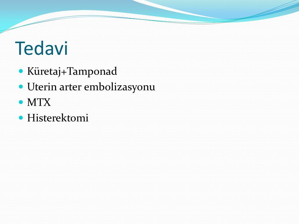 Tedavi Küretaj+Tamponad Uterin arter embolizasyonu MTX Histerektomi