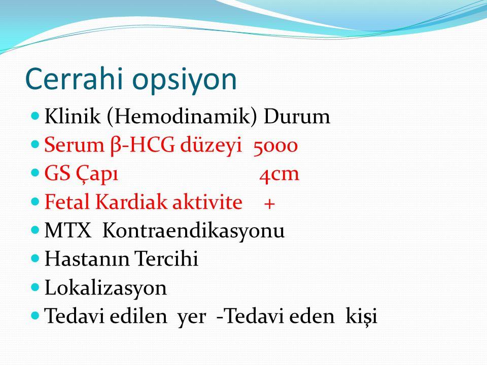 Cerrahi opsiyon Klinik (Hemodinamik) Durum Serum β-HCG düzeyi 5000