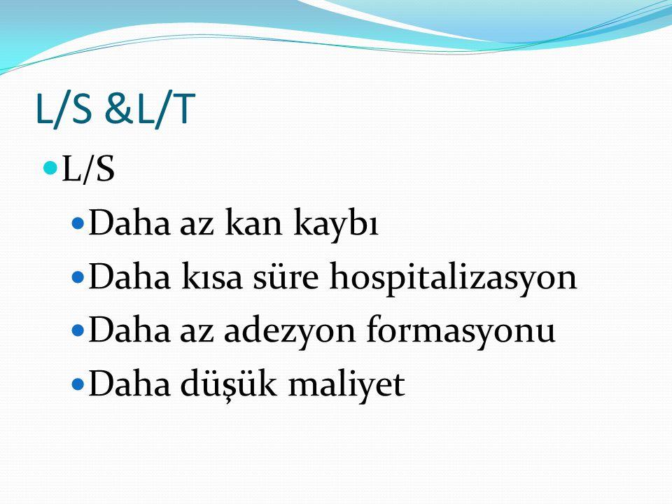 L/S &L/T L/S Daha az kan kaybı Daha kısa süre hospitalizasyon