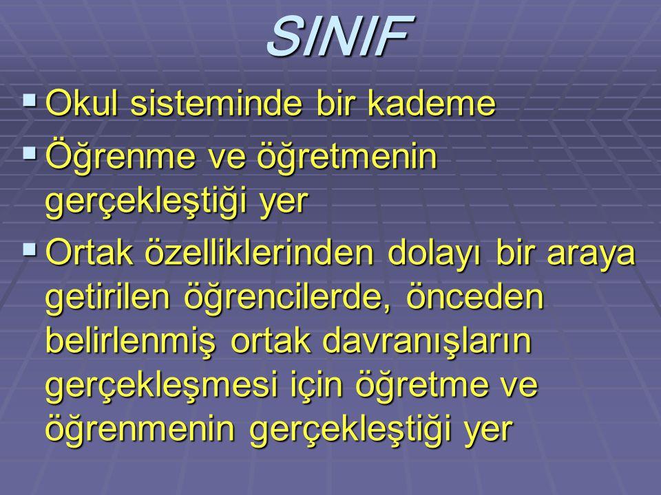 SINIF Okul sisteminde bir kademe