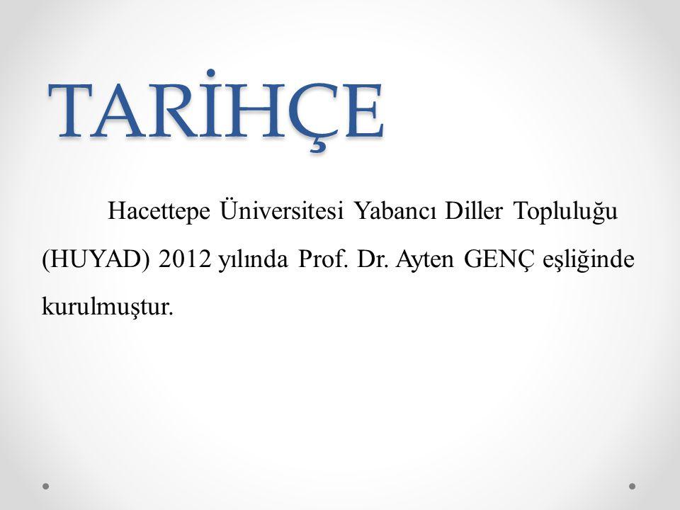 TARİHÇE Hacettepe Üniversitesi Yabancı Diller Topluluğu (HUYAD) 2012 yılında Prof.
