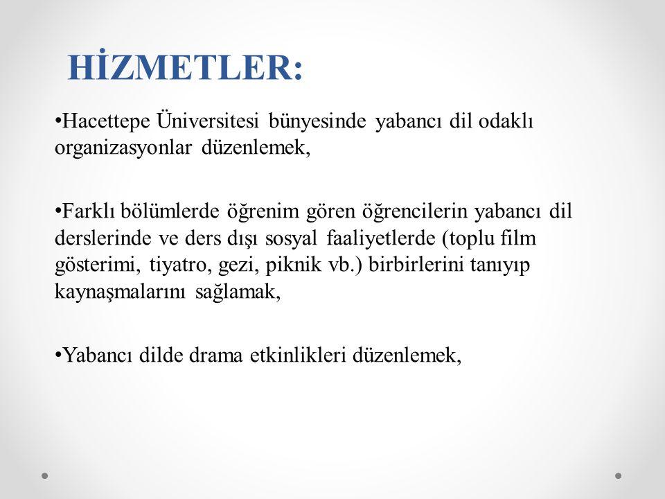 HİZMETLER: Hacettepe Üniversitesi bünyesinde yabancı dil odaklı organizasyonlar düzenlemek,