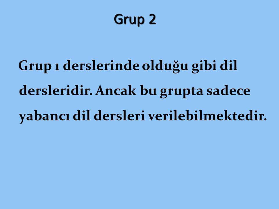 Grup 2 Grup 1 derslerinde olduğu gibi dil dersleridir.