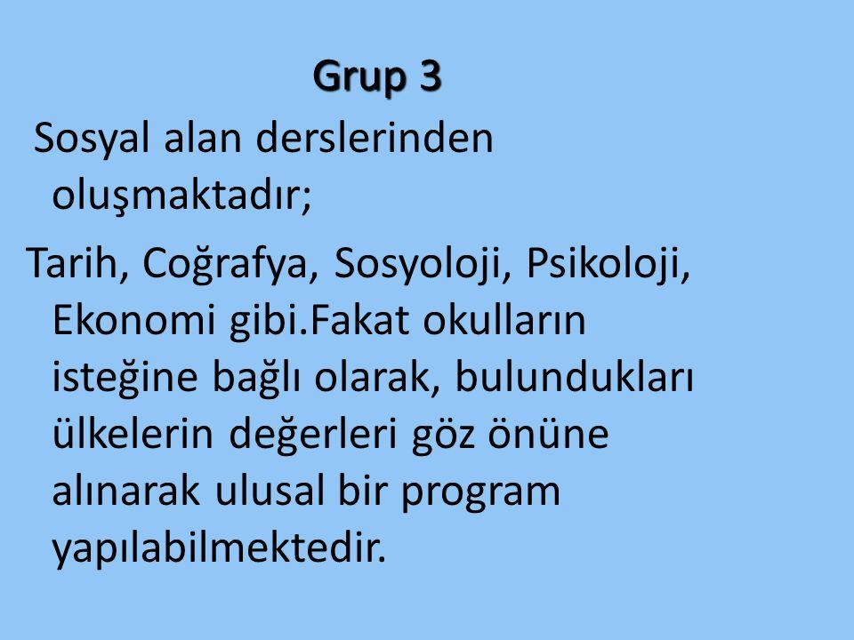 Grup 3 Sosyal alan derslerinden oluşmaktadır;