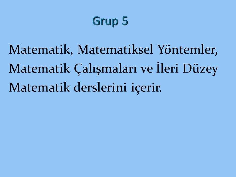 Grup 5 Matematik, Matematiksel Yöntemler, Matematik Çalışmaları ve İleri Düzey.