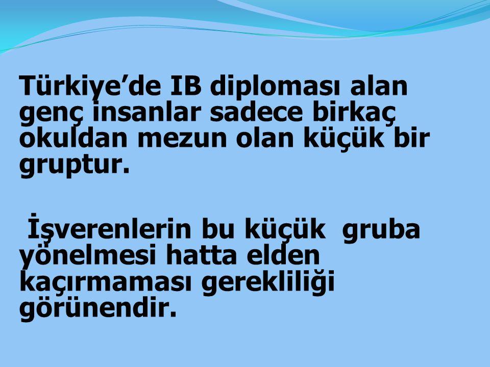 Türkiye'de IB diploması alan genç insanlar sadece birkaç okuldan mezun olan küçük bir gruptur.