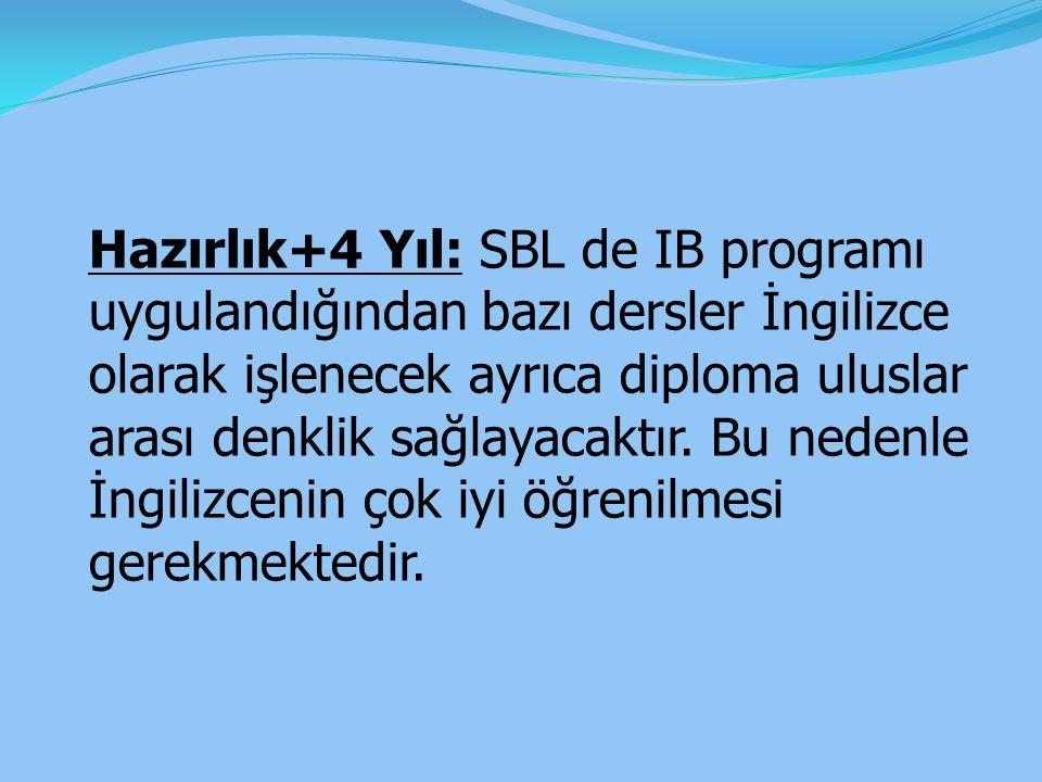 Hazırlık+4 Yıl: SBL de IB programı uygulandığından bazı dersler İngilizce olarak işlenecek ayrıca diploma uluslar arası denklik sağlayacaktır.