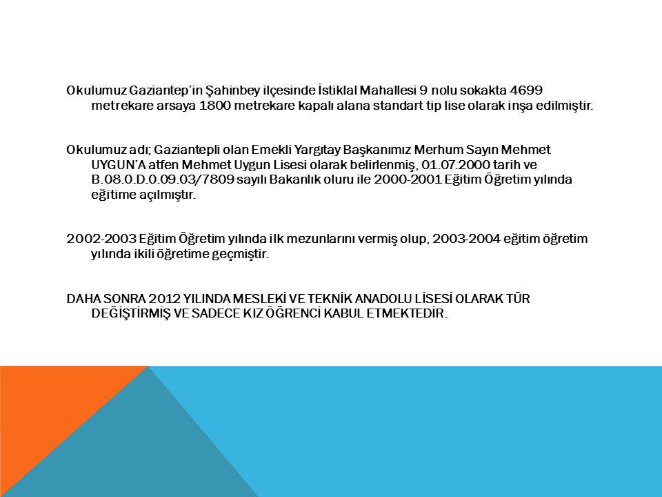 Okulumuz Gaziantep'in Şahinbey ilçesinde İstiklal Mahallesi 9 nolu sokakta 4699 metrekare arsaya 1800 metrekare kapalı alana standart tip lise olarak inşa edilmiştir.