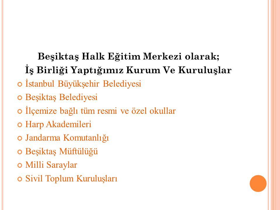 Beşiktaş Halk Eğitim Merkezi olarak;