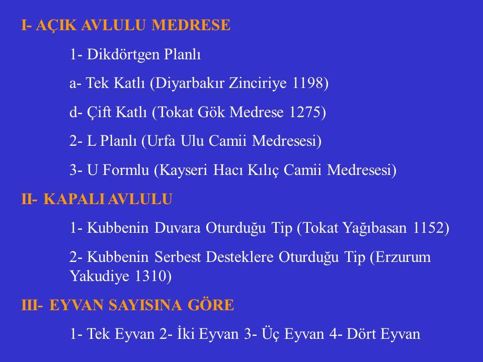 I- AÇIK AVLULU MEDRESE 1- Dikdörtgen Planlı. a- Tek Katlı (Diyarbakır Zinciriye 1198) d- Çift Katlı (Tokat Gök Medrese 1275)