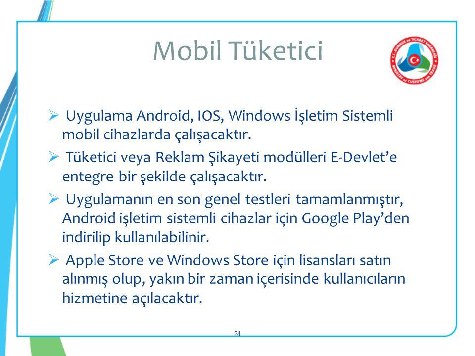 Mobil Tüketici Uygulama Android, IOS, Windows İşletim Sistemli mobil cihazlarda çalışacaktır.
