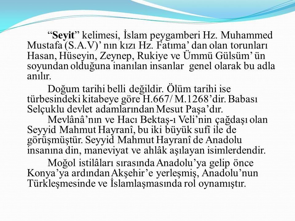 Seyit kelimesi, İslam peygamberi Hz. Muhammed Mustafa (S. A