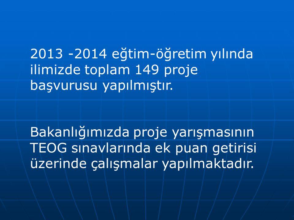 2013 -2014 eğtim-öğretim yılında ilimizde toplam 149 proje başvurusu yapılmıştır.