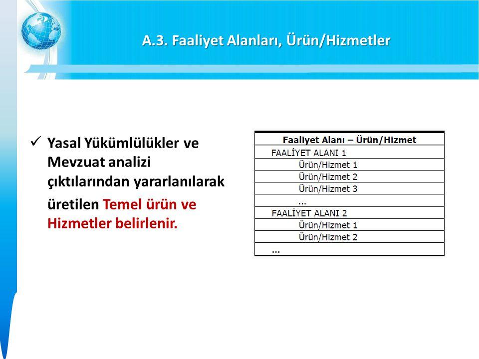 A.3. Faaliyet Alanları, Ürün/Hizmetler