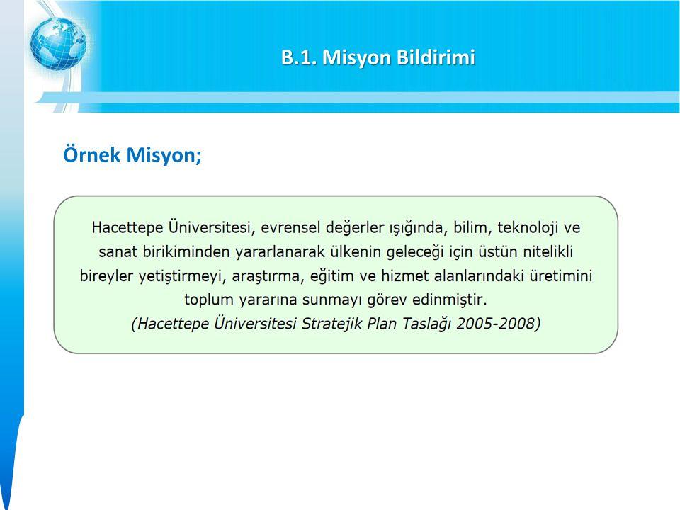 B.1. Misyon Bildirimi Örnek Misyon;