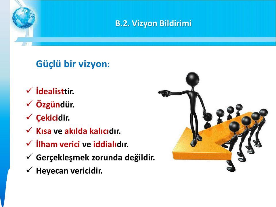 B.2. Vizyon Bildirimi Güçlü bir vizyon: İdealisttir. Özgündür. Çekicidir. Kısa ve akılda kalıcıdır.