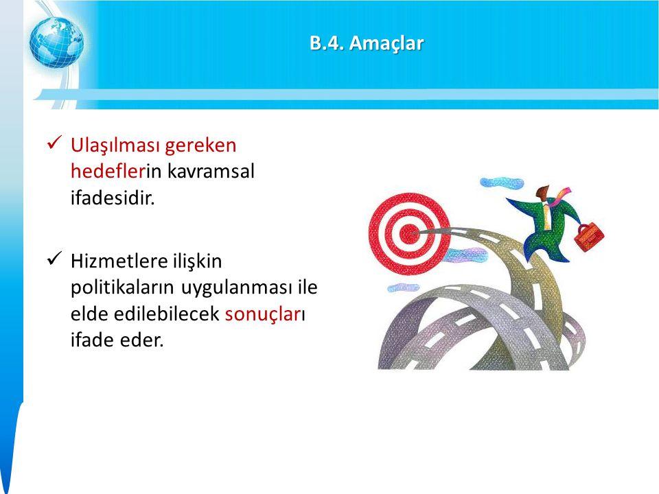 B.4. Amaçlar Ulaşılması gereken hedeflerin kavramsal ifadesidir.