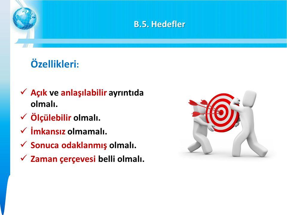 B.5. Hedefler Özellikleri: Açık ve anlaşılabilir ayrıntıda olmalı. Ölçülebilir olmalı. İmkansız olmamalı.