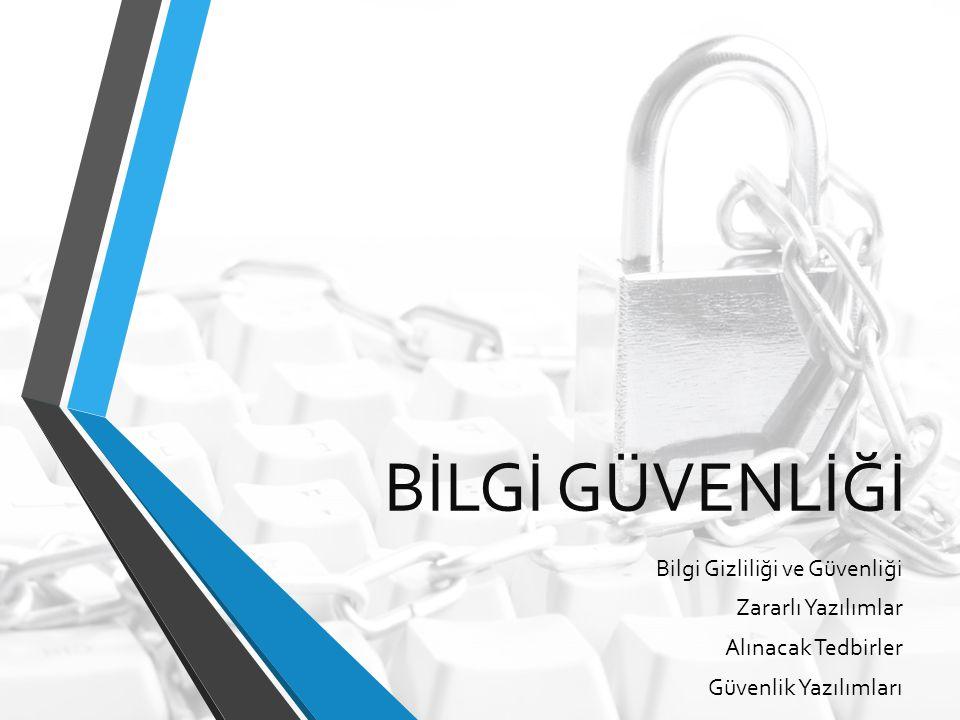BİLGİ GÜVENLİĞİ Bilgi Gizliliği ve Güvenliği Zararlı Yazılımlar