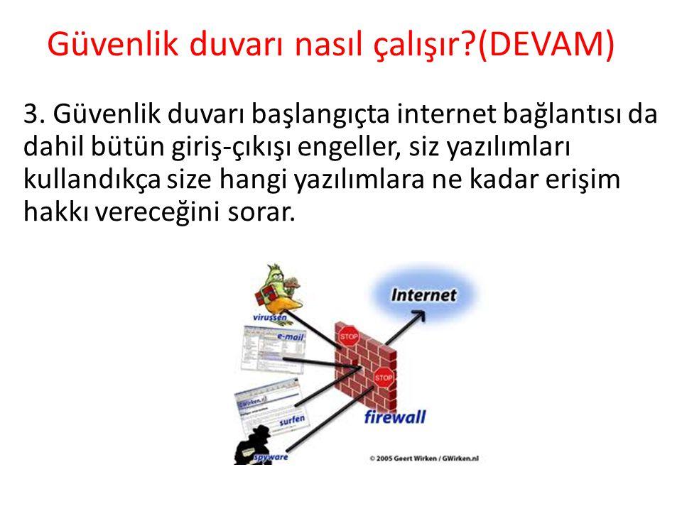 Güvenlik duvarı nasıl çalışır (DEVAM)