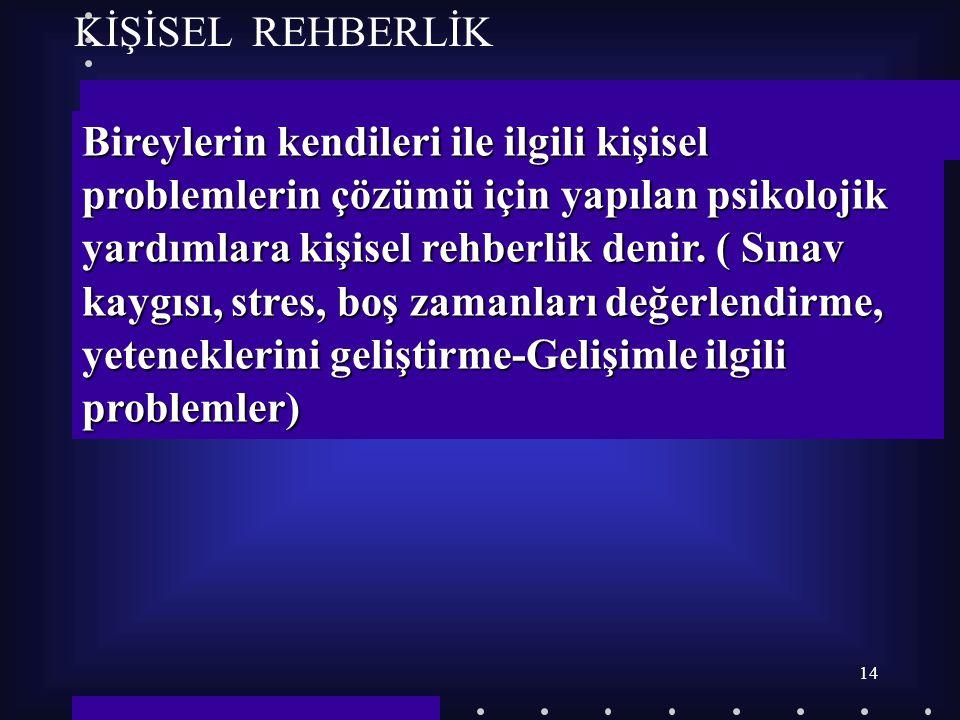 KİŞİSEL REHBERLİK