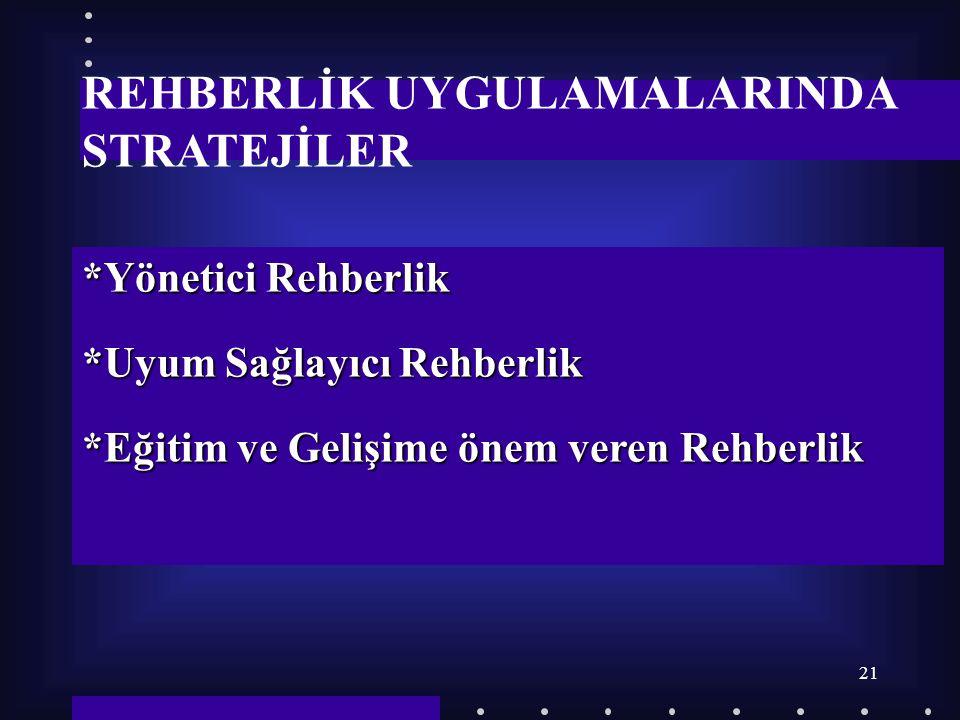 REHBERLİK UYGULAMALARINDA STRATEJİLER