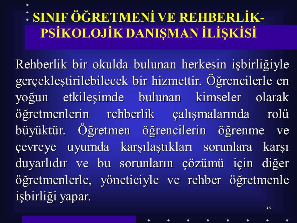 SINIF ÖĞRETMENİ VE REHBERLİK- PSİKOLOJİK DANIŞMAN İLİŞKİSİ