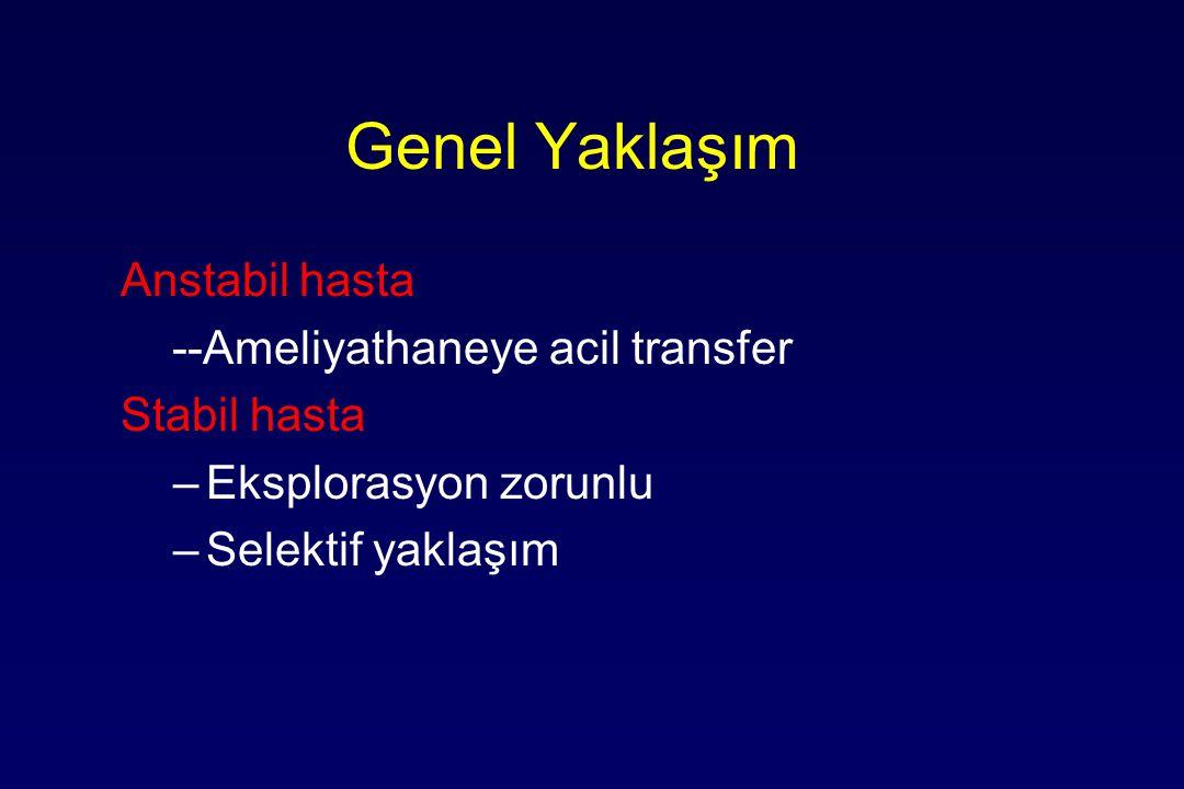 Genel Yaklaşım Anstabil hasta --Ameliyathaneye acil transfer