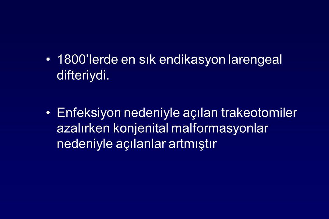 1800'lerde en sık endikasyon larengeal difteriydi.