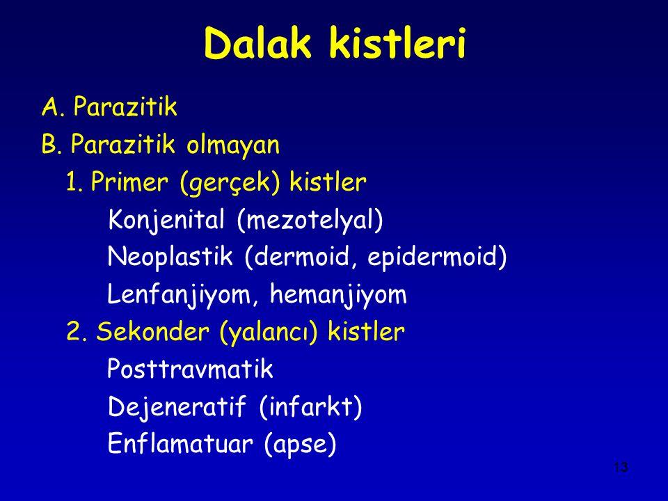 Dalak kistleri A. Parazitik B. Parazitik olmayan