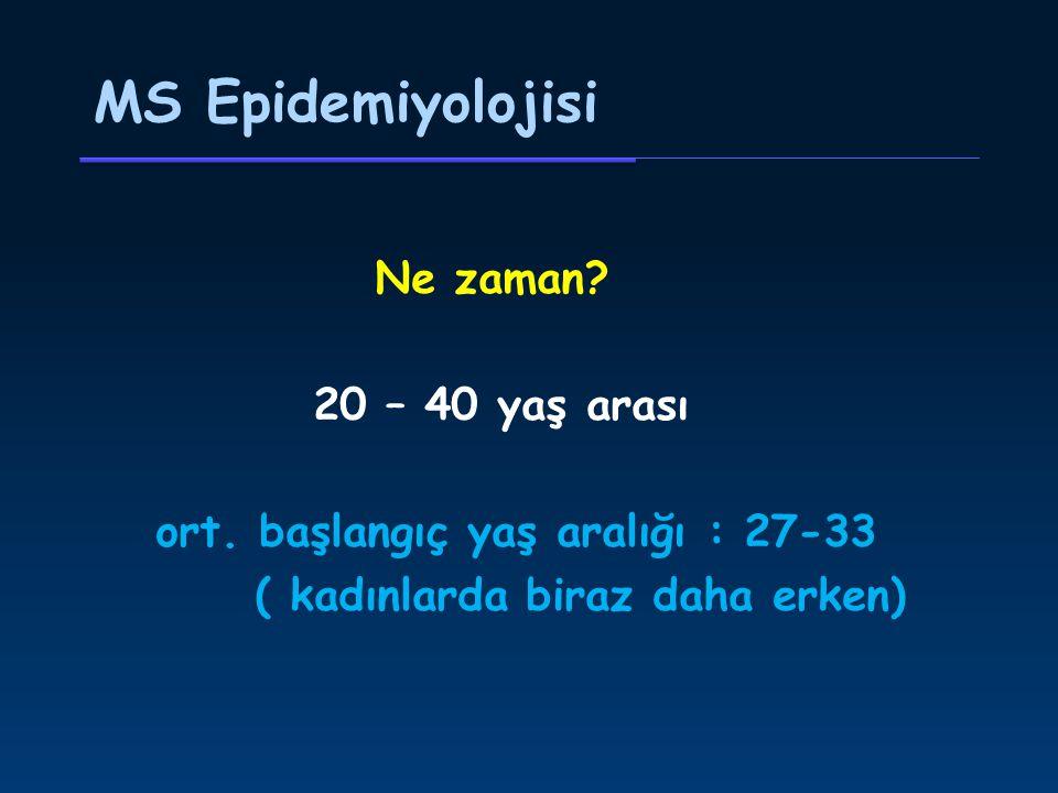 MS Epidemiyolojisi Ne zaman. 20 – 40 yaş arası ort.