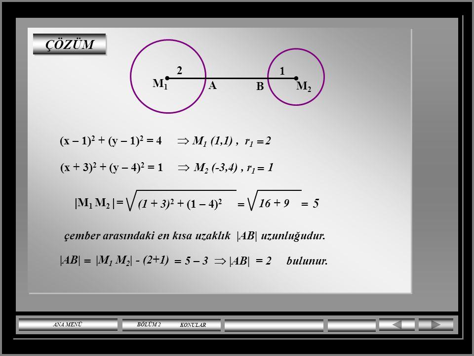 . ÇÖZÜM 5 M2 B A M1 1 2 = (x – 1)2 + (y – 1)2 = 4 M1 (1,1) , r1 2 