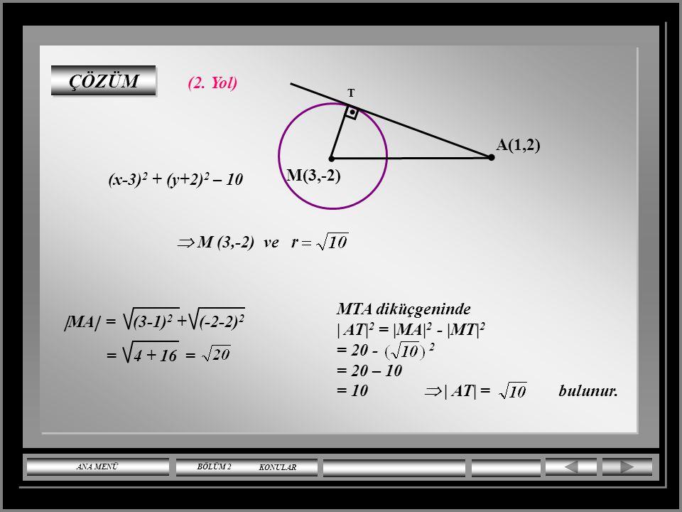 . ÇÖZÜM (2. Yol) T A(1,2) M(3,-2) (x-3)2 + (y+2)2 – 10  M (3,-2) ve r
