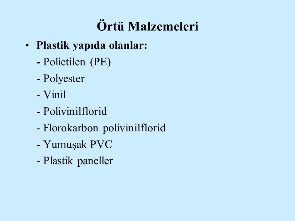 Örtü Malzemeleri Plastik yapıda olanlar: - Polietilen (PE) - Polyester