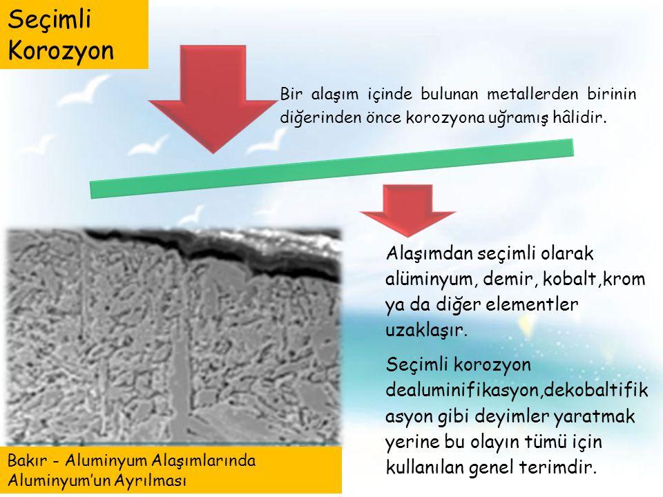 Bir alaşım içinde bulunan metallerden birinin diğerinden önce korozyona uğramış hâlidir.