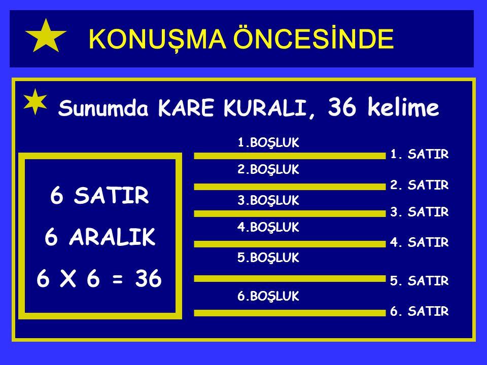 KONUŞMA ÖNCESİNDE 6 SATIR 6 ARALIK 6 X 6 = 36
