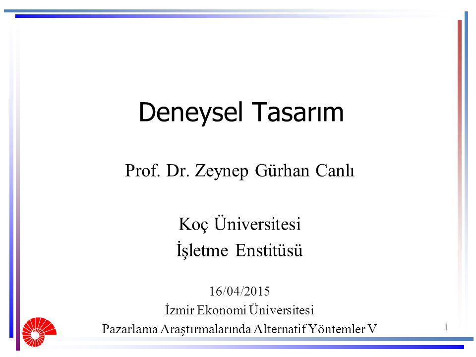 Deneysel Tasarım Prof. Dr. Zeynep Gürhan Canlı Koç Üniversitesi