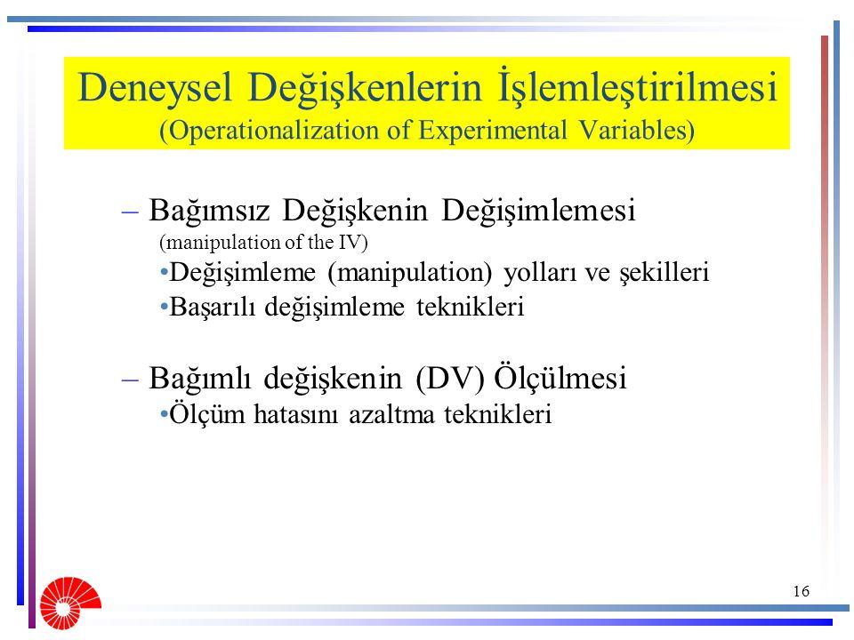 Deneysel Değişkenlerin İşlemleştirilmesi (Operationalization of Experimental Variables)